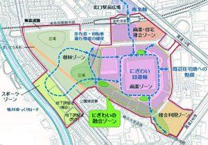 鶴間公園と商業施設の計画案